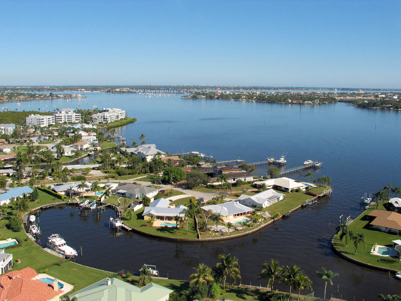 Palm City Waterfront Aerial